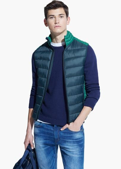 Paneled water-repellent quilted gilet