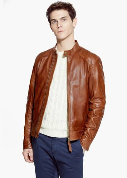 Tabbed-waist leather jacket | MANGO MAN