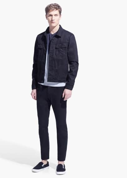 Black denim jacket | MANGO MAN