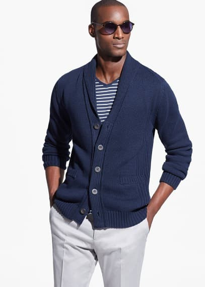 Cardigan coton col smoking | MANGO MAN