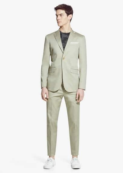 Satin cotton ermo suit | MANGO MAN