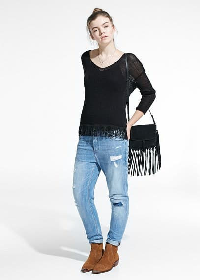 Fringed hem sweater