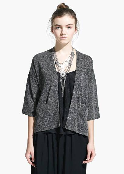 Metal-thread linen-blend cardigan