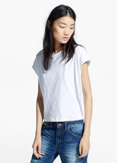 T-shirt manches à revers | MANGO