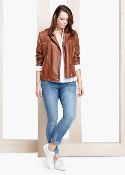 Multi-pocket leather jacket | VIOLETA BY MANGO