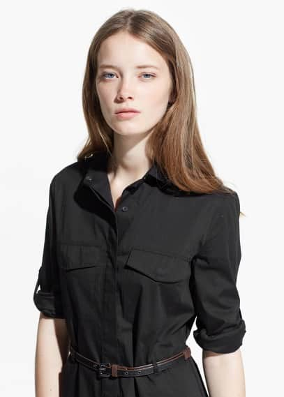 Belted-waist shirt dress | MANGO