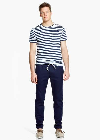 Cuffed hem cotton-blend trousers | MANGO MAN