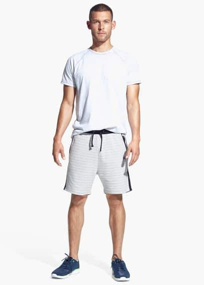 Striped cotton-blend training bermuda shorts | MANGO MAN