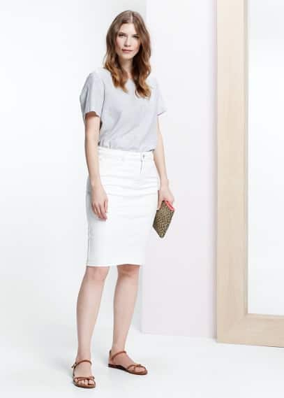 White denim skirt | MANGO