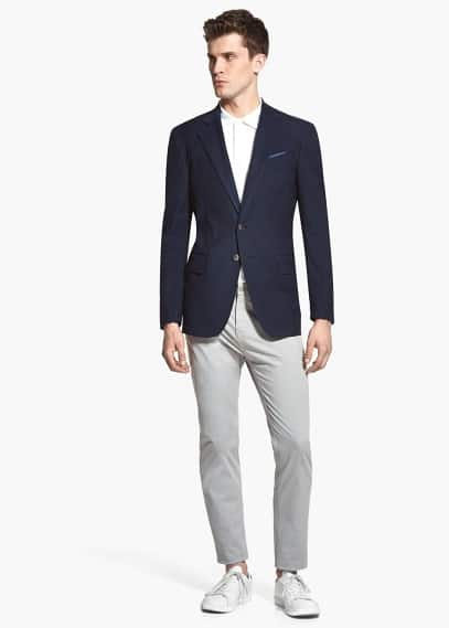 Micro-draw cotton blazer | MANGO MAN