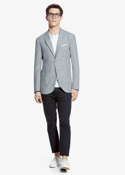 Houndstooth linen blazer | MANGO MAN