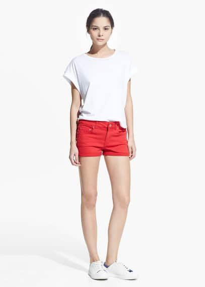 Short denim rojo