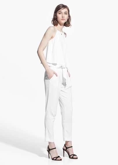 Bow textured trousers | MANGO