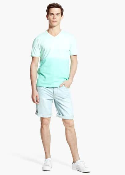 Dégradé katoenen t-shirt | MANGO MAN