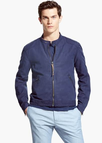 Cotton linen-blend jacket | MANGO MAN