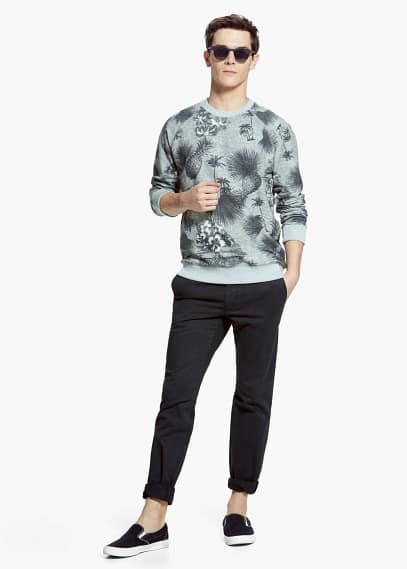Tropical print sweatshirt | MANGO MAN