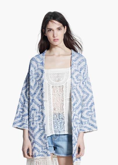 Fringed jacquard kimono | MANGO