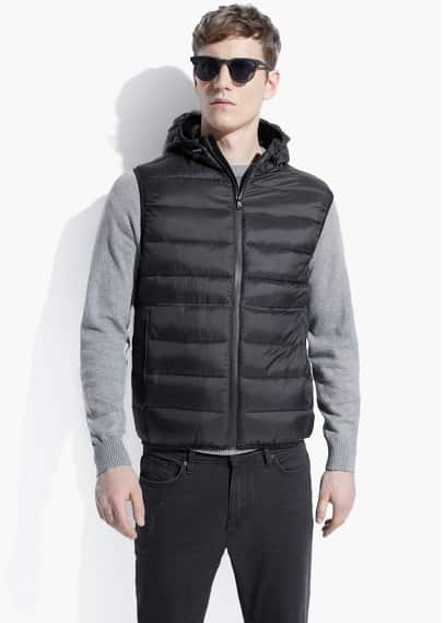 Hooded water-repellent quilted gilet