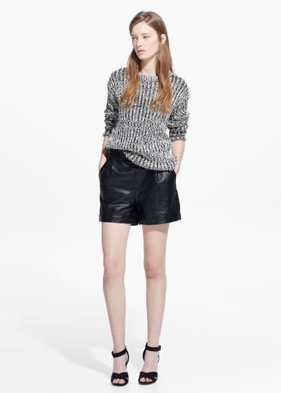 High-waist leather shorts