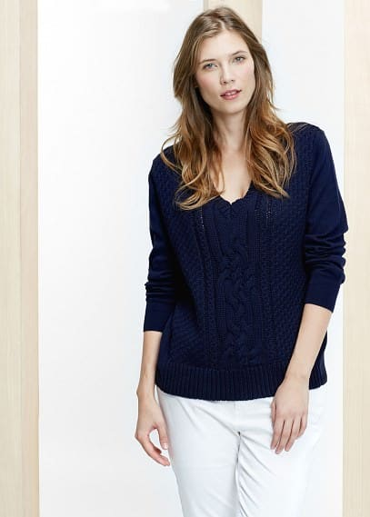 Cable-knit cotton sweater | VIOLETA BY MANGO