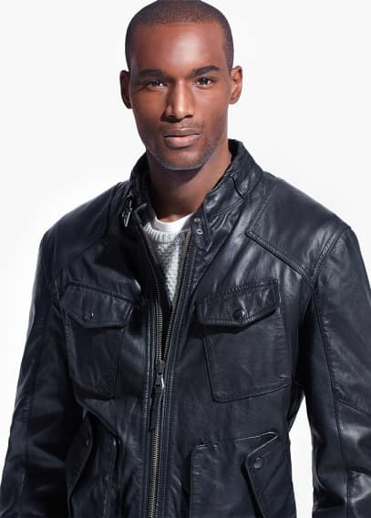 Multi-pocket leather jacket