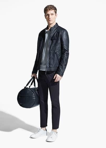 Lederjacke mit mehreren Taschen
