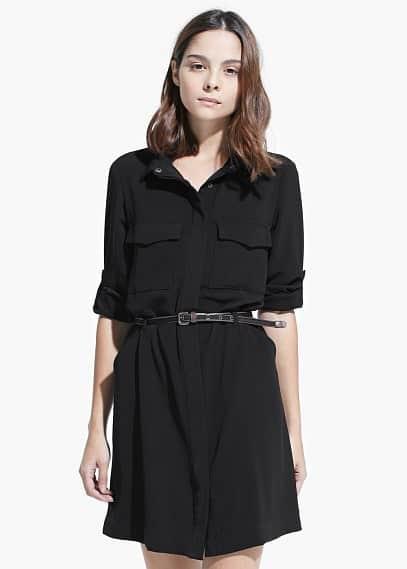 Koszulowa sukienka z paskiem | MANGO MAN