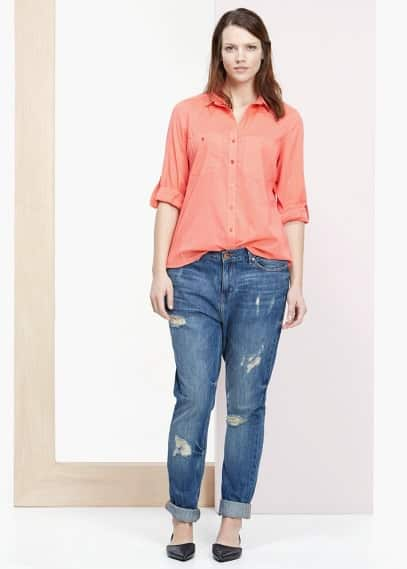 Ribbed contrast blouse