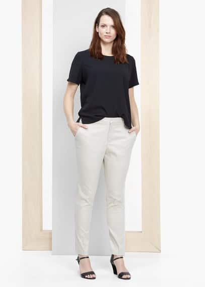 Katoenen straight-fit broek | VIOLETA BY MANGO