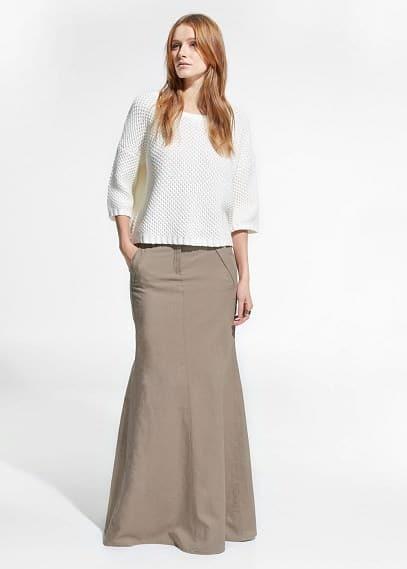 Linen-blend long skirt | MANGO