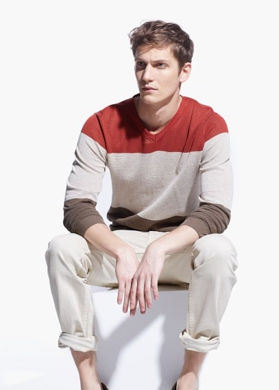 Tricolor openwork sweater