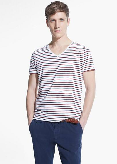 Camiseta rayas cuello pico | MANGO MAN