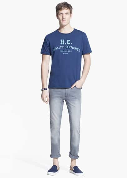 Katoenen t-shirt met logo | MANGO MAN