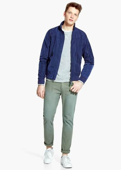 Grosgrain-trim nylon jacket | MANGO MAN