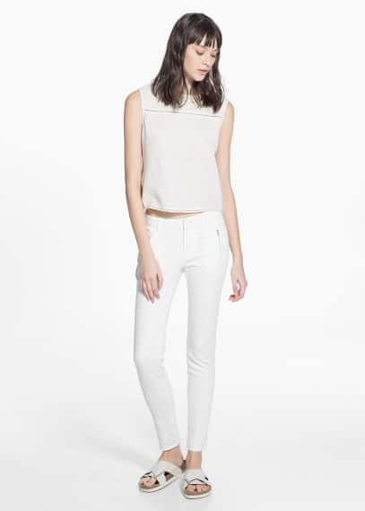 Zip cotton trousers | MANGO