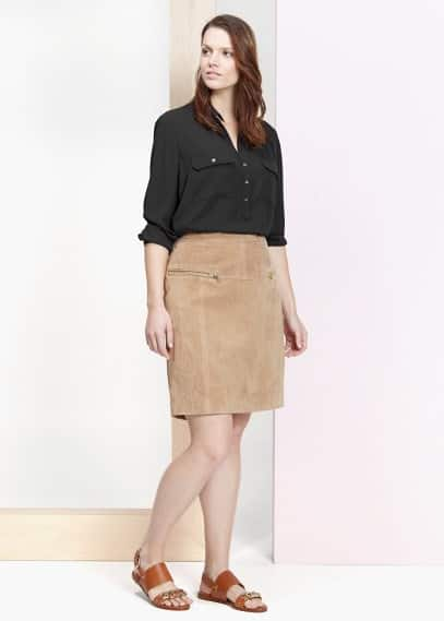 High-waist suede skirt | VIOLETA BY MANGO