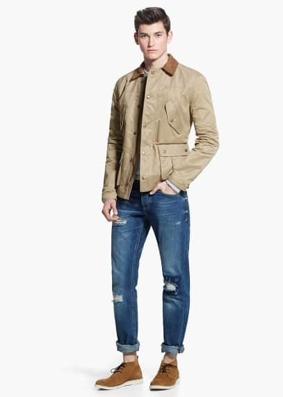 Faux-suede collar water-repellent jacket