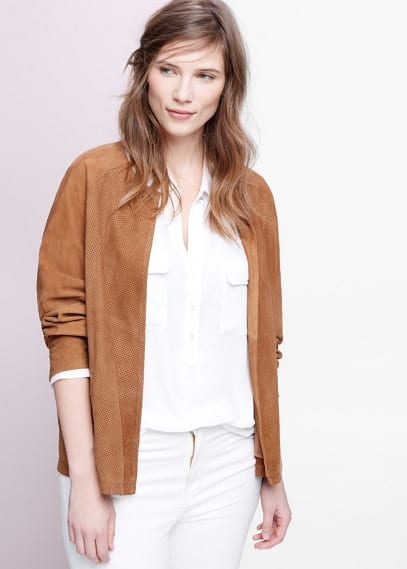 Laser-cut suede jacket | VIOLETA BY MANGO