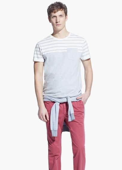 Striped contrast t-shirt