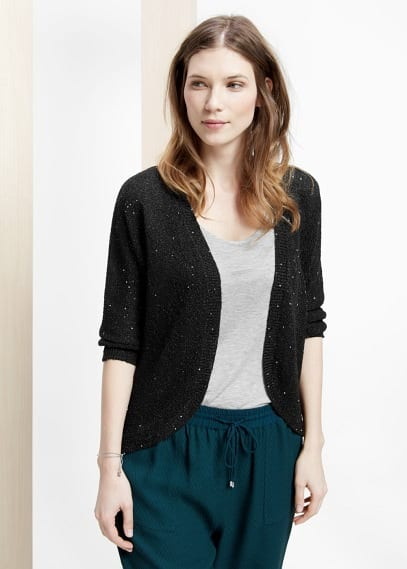 Strickjacke mit pailletten | VIOLETA BY MANGO