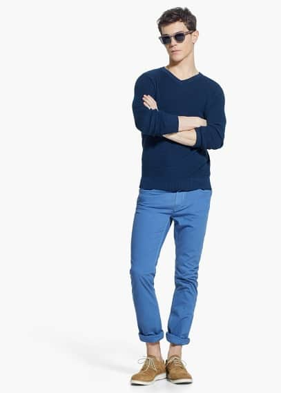 Straight-fit 5 pocket cotton trousers