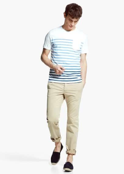 Streifen-t-shirt mit farbverlauf | MANGO MAN