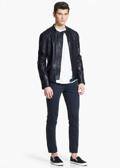 Elbow-patch zipped jacket | MANGO MAN