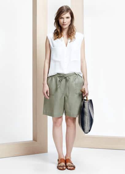 Linen bow bermuda shorts | VIOLETA BY MANGO