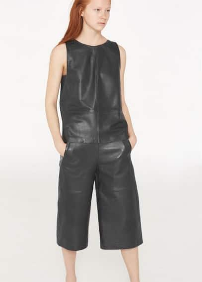 Premium - leather culottes | MANGO