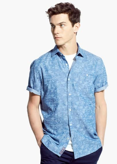 Slim-fit short-sleeve palm tree print shirt | MANGO MAN