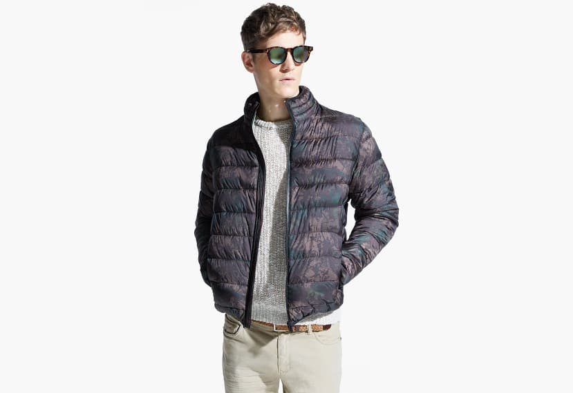 Camo water-repellent quilted jacket