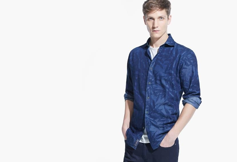 Slim Fit Chambray-Hemd mit Muster
