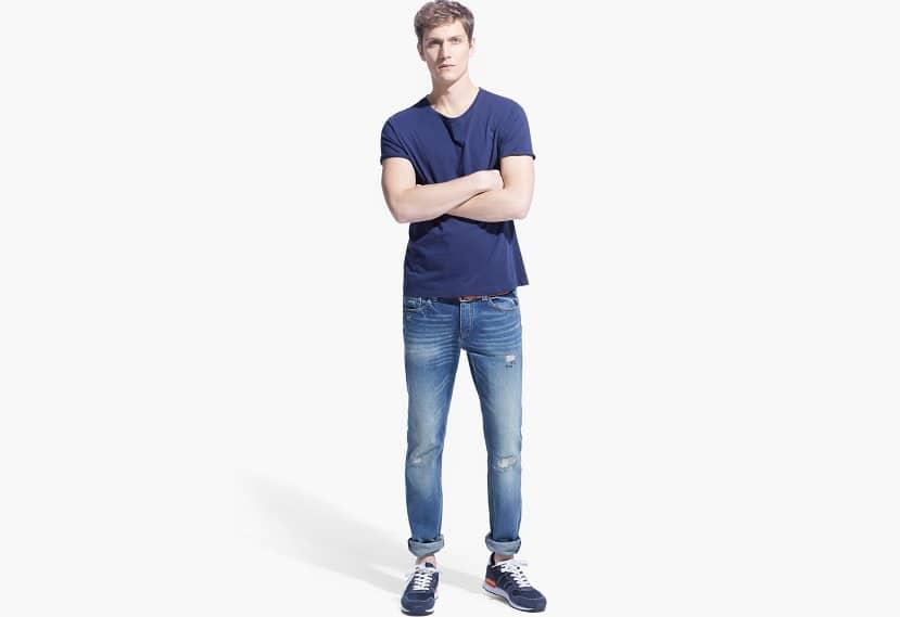 Jeans Steve slim-fit vintage claro