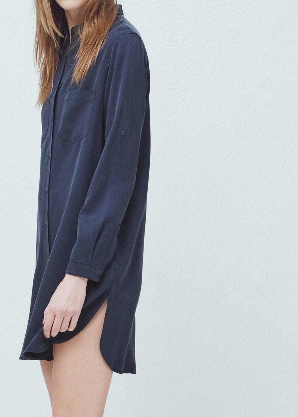 Koszulowa sukienka miękka tkanina | MANGO
